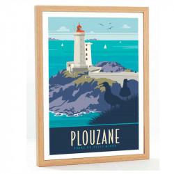 """""""Plouzane, phare du petit Minou"""", Travel poster vintage 50x70"""