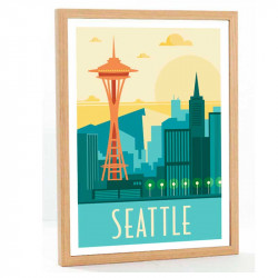 """Seattle"", Travel poster vintage, 50x70"
