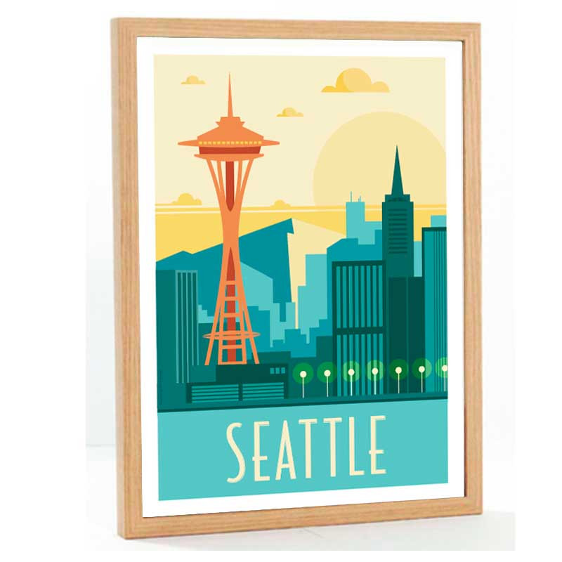 """Seattle"", Travel poster vintage, 50x70"