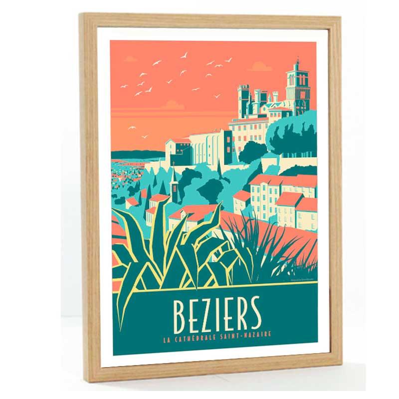 Beziers Travel poster 50x70 la cathédrale Saint Nazaire