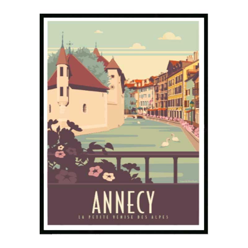 Annecy Travel poster Cadre alu noir Nielsen