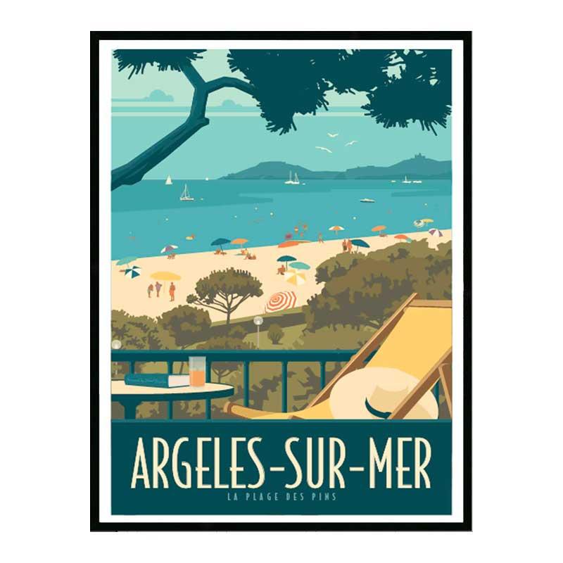 Argeles sur mer Travel poster Cadre alu noir Nielsen