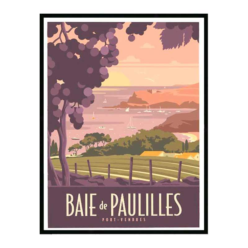 Baie de Paulilles Travel poster Cadre alu noir Nielsen