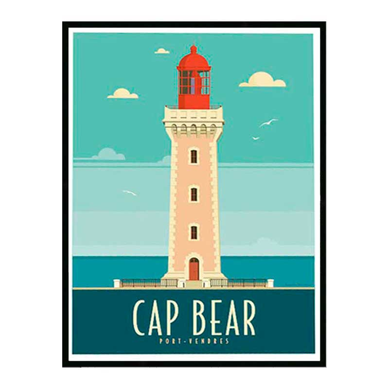 Cap Bear, Port Vendres, Travel poster Cadre alu noir Nielsen