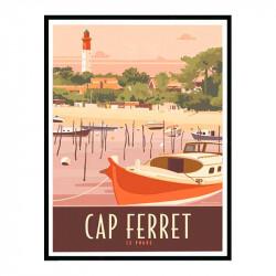 Cap Ferret, le phare, Travel poster Cadre alu noir Nielsen