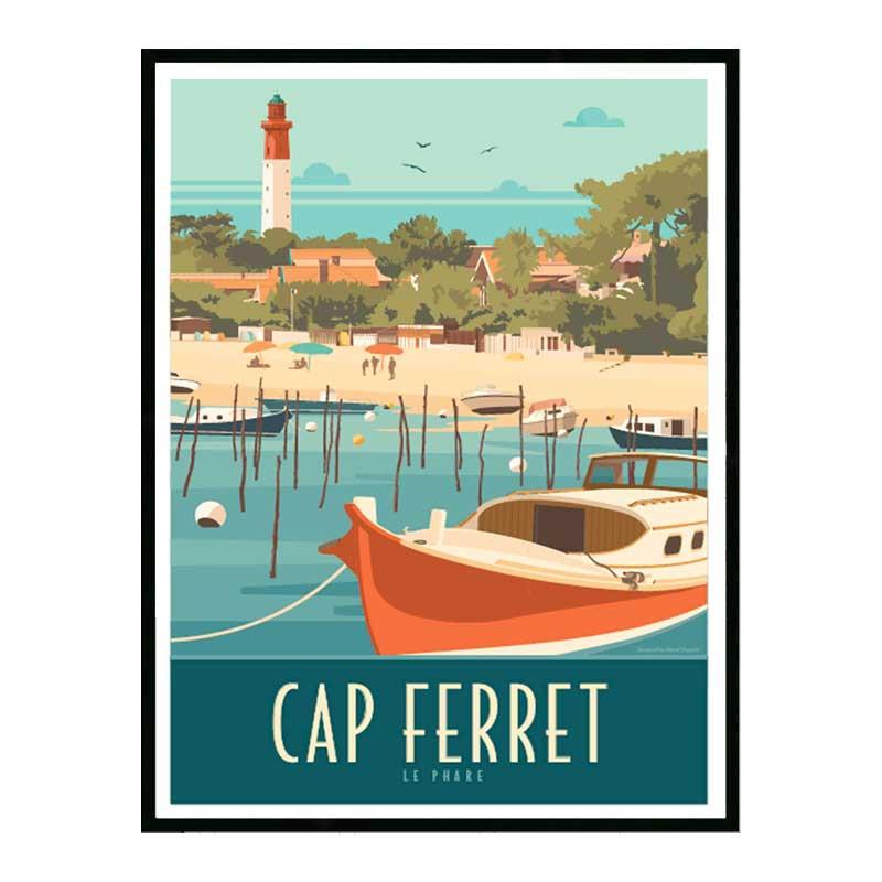 Cap Ferret, le phare 2, Travel poster Cadre alu noir Nielsen