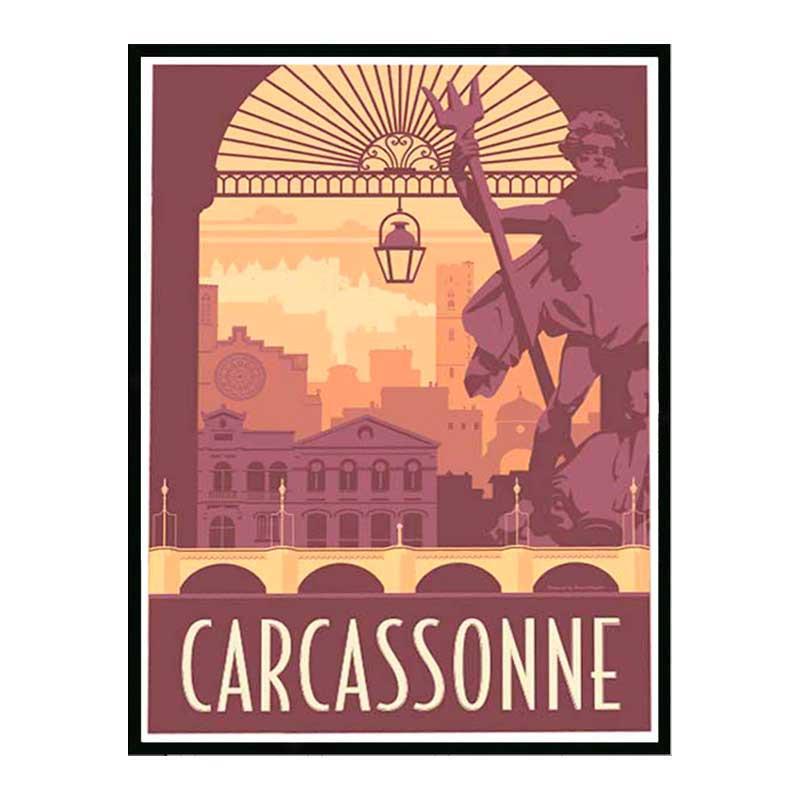Carcassonne, Travel poster Cadre alu noir Nielsen
