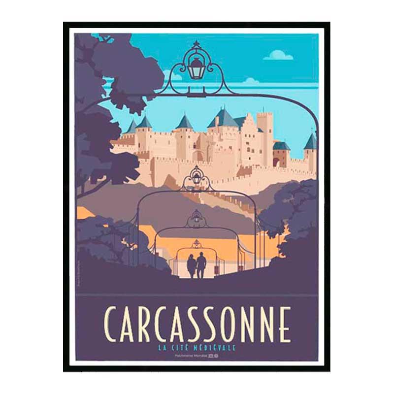 Carcassonne, cité médievale, Travel poster Cadre alu noir Nielsen