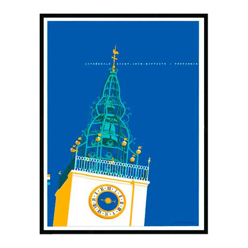 Perpignan, Cathédrale St Jean Baptiste, Travel poster Cadre alu noir Nielsen