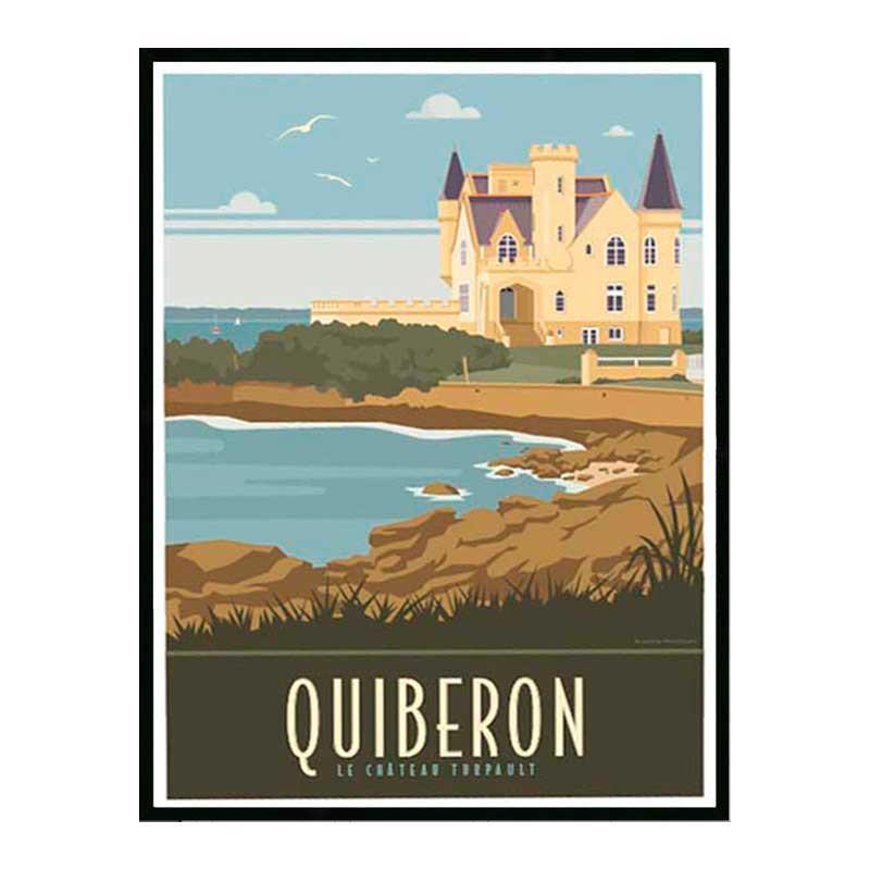 Quiberon, le chateau Turpault, Travel poster Cadre alu noir Nielsen