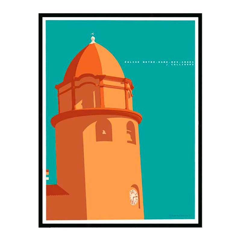 Notre Dame des Anges, Collioures, Travel poster Cadre alu noir Nielsen