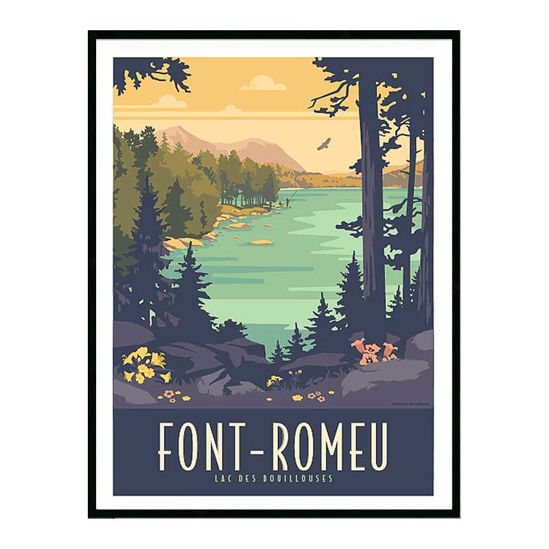 Font Romeu, lac des Bouillouses, Travel poster Cadre alu noir Nielsen