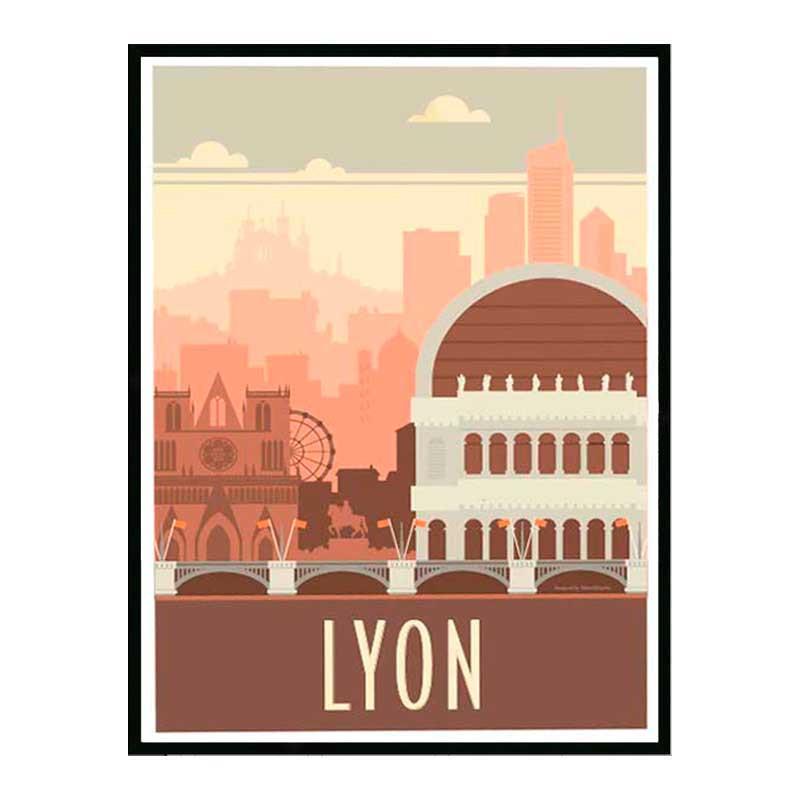 Lyon, Travel poster Cadre alu noir Nielsen