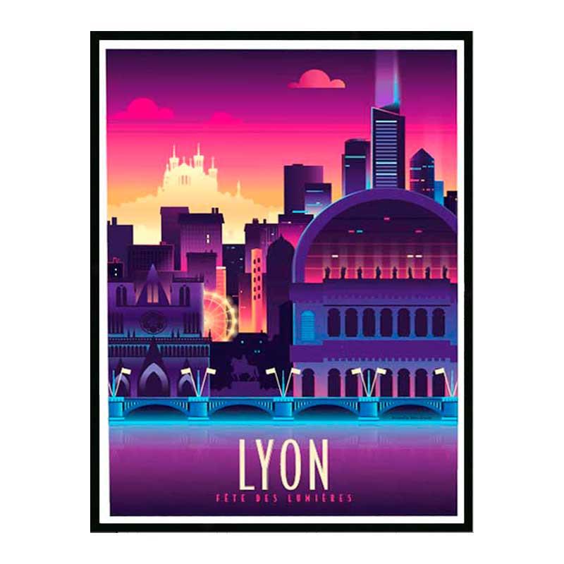 Lyon, fête des lumières, Travel poster Cadre alu noir Nielsen