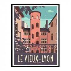 Le vieux-Lyon, la tour rose, Travel poster Cadre alu noir Nielsen