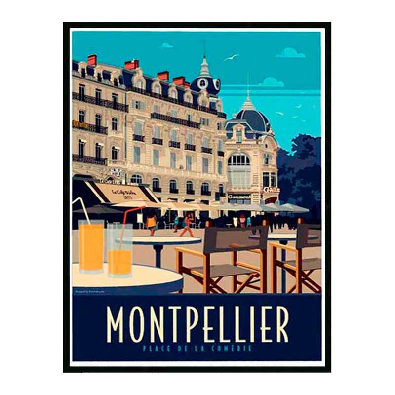 Montpellier, place de la comédie, Travel poster Cadre alu noir Nielsen