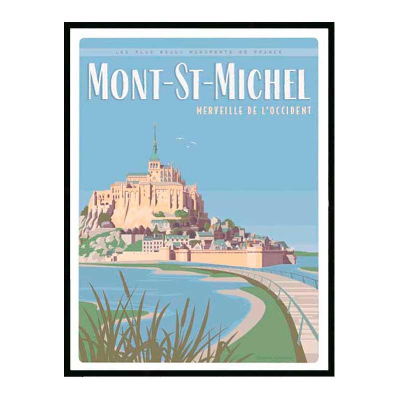 Mont Saint Michel, Travel poster Cadre alu noir Nielsen