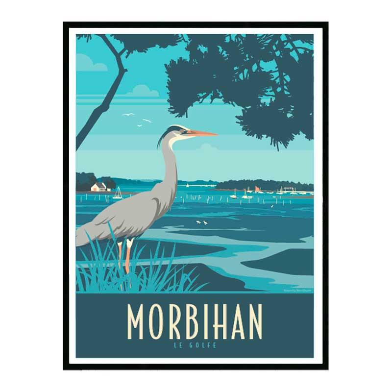 Morbihan, le golfe, Travel poster Cadre alu noir Nielsen