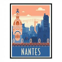 Nantes, Travel poster Cadre alu noir Nielsen