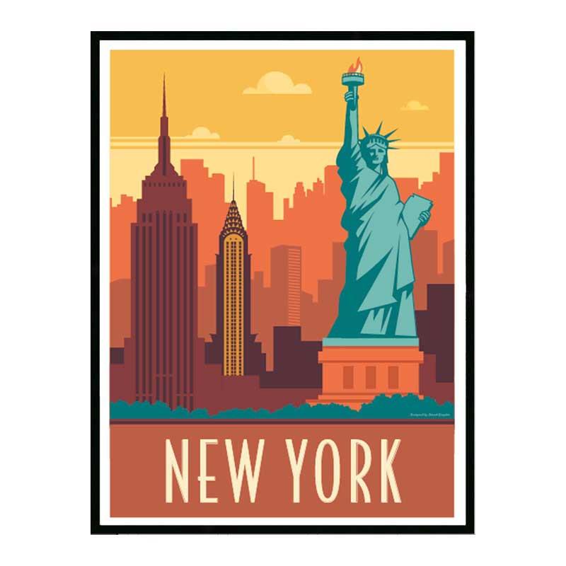 New York, Travel poster Cadre alu noir Nielsen