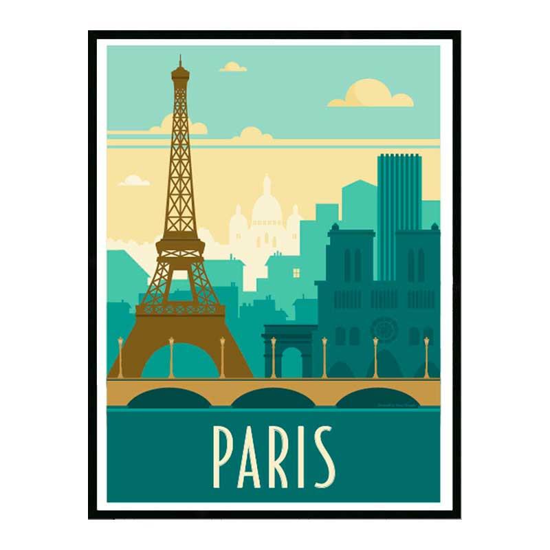 Paris, Travel poster Cadre alu noir Nielsen