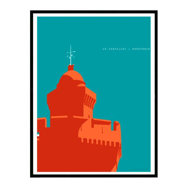 Perpignan, le Castillet, Travel poster Cadre alu noir Nielsen