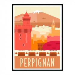 Perpignan, Travel poster Cadre alu noir Nielsen