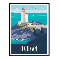 Plouzane, phare du petit Minou, Travel poster Cadre alu noir Nielsen