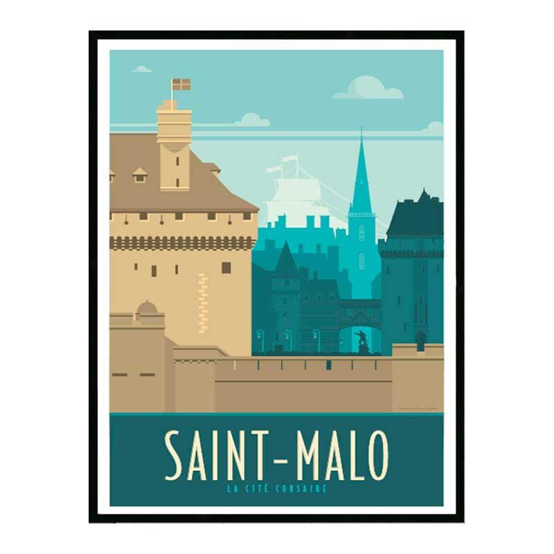 Saint Malo, la cité corsaire, Travel poster Cadre alu noir Nielsen