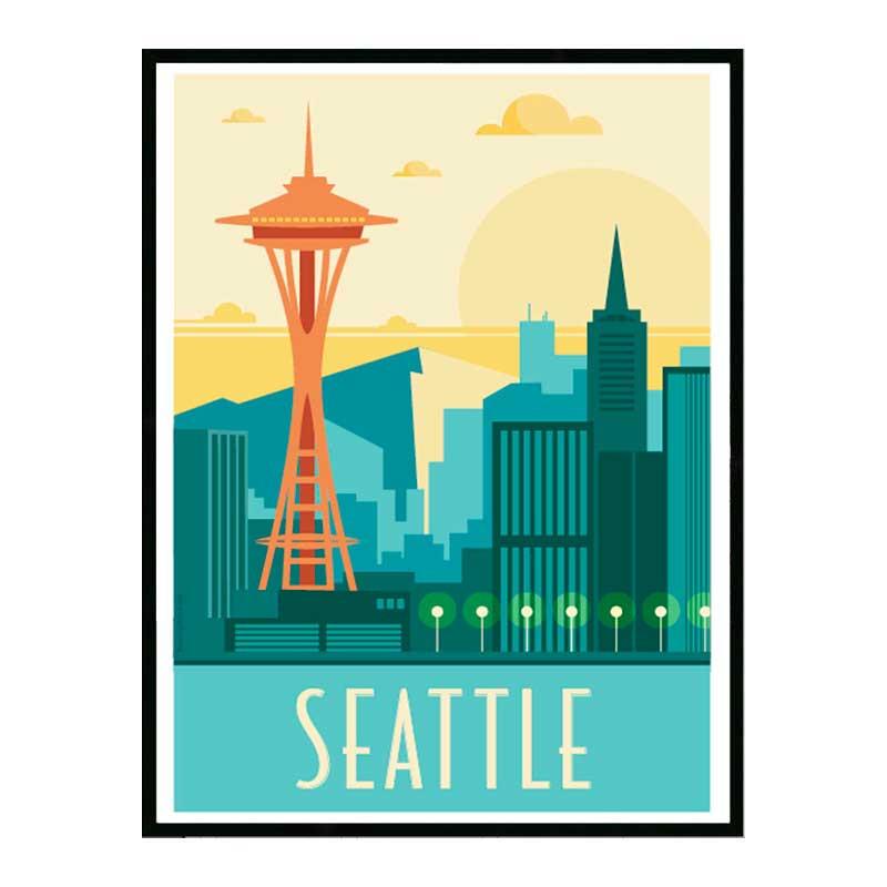 Seattle, Travel poster Cadre alu noir Nielsen
