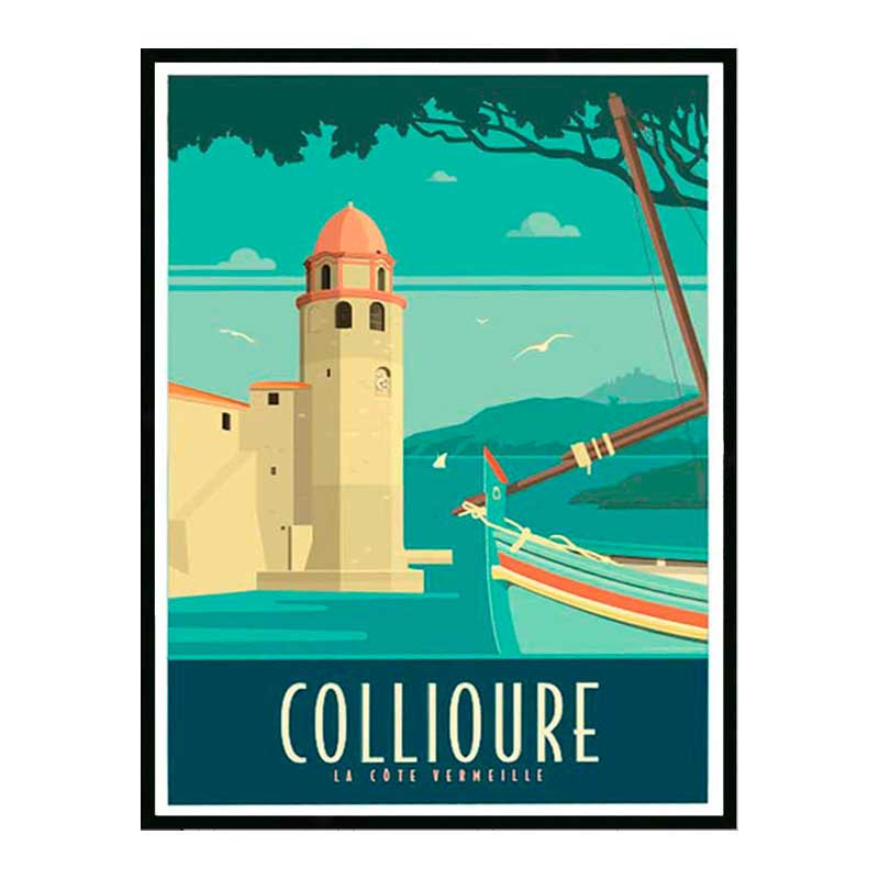 Collioures, la côte Vermeille, Travel poster Cadre alu noir Nielsen