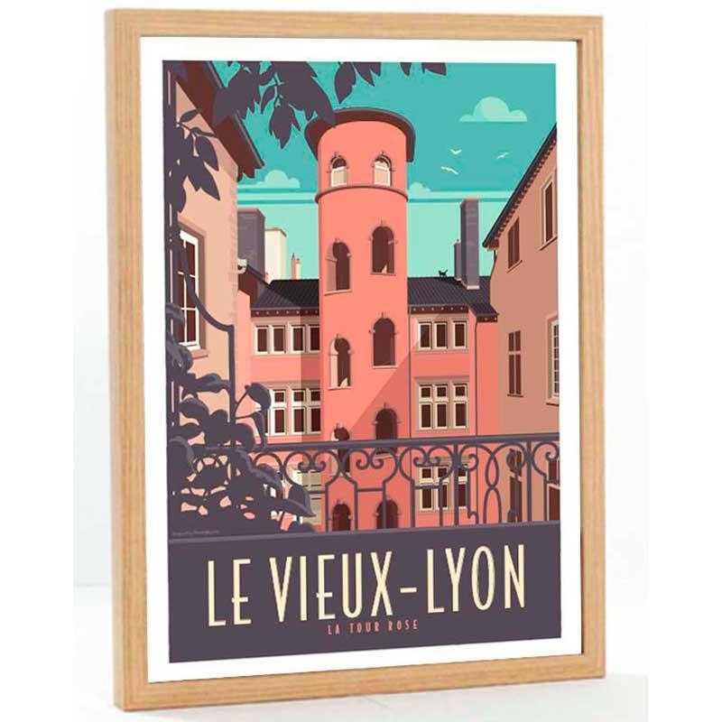 """Vieux Lyon, la tour rose"", Travel poster vintage, 50x70"