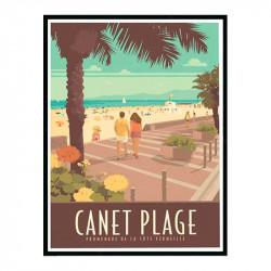 Canet plage, promenade de la côte Vermeille, Travel poster Cadre alu noir Nielsen