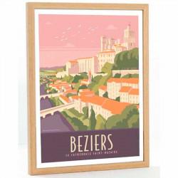 """""""Beziers, Cathédrale Saint Nazaire"""", Travel poster vintage 50x70"""