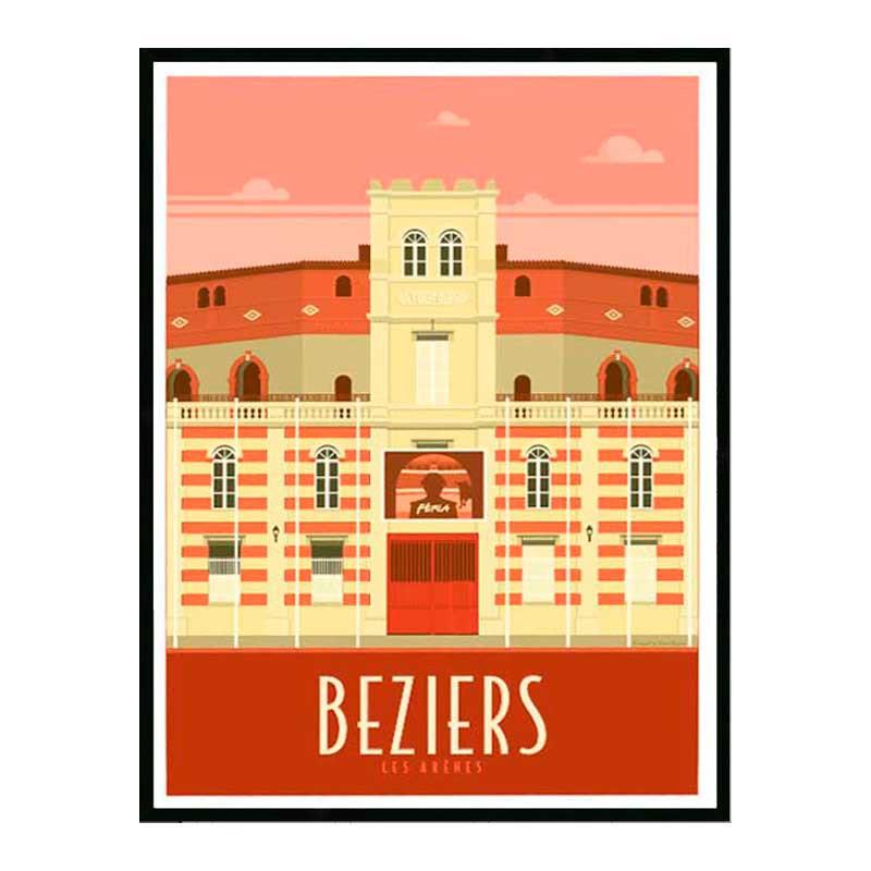 Béziers, les arènes, Travel poster Cadre alu noir Nielsen