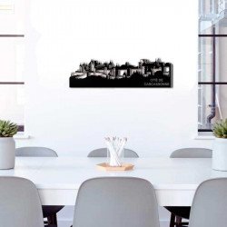 """"""" CITÉ DE CARCASSONNE """",Skyline, décoration murale métal gravé"""