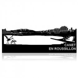""""""" CANET EN ROUSSILLON """",Skyline, décoration murale métal gravé"""