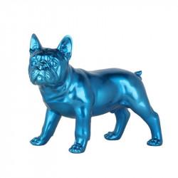 Statue design Bouledogue français, bleu métallisé