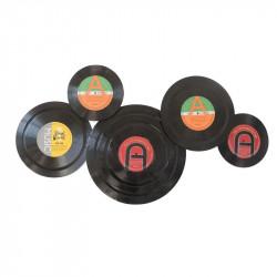 """"""" Vinyles vintage """", déco murale métal musique"""