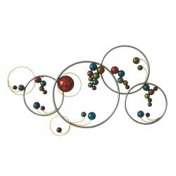""""""" Cercles et billes """", déco murale métal design"""