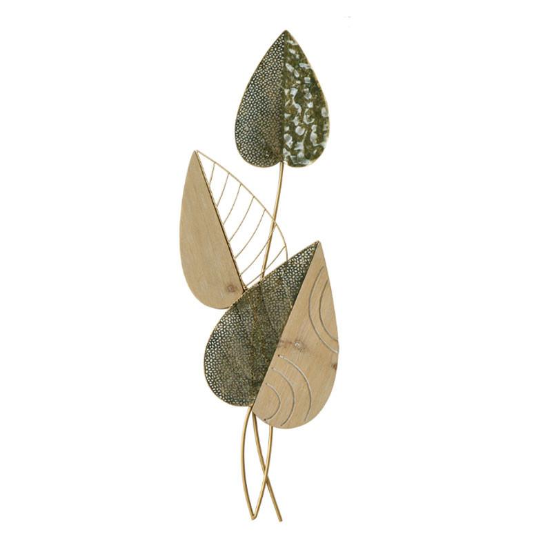 """""""Feuillage branche """", déco murale florale métal et bois"""