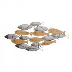"""Déco murale métal marine """"Banc de poissons ajourés"""""""
