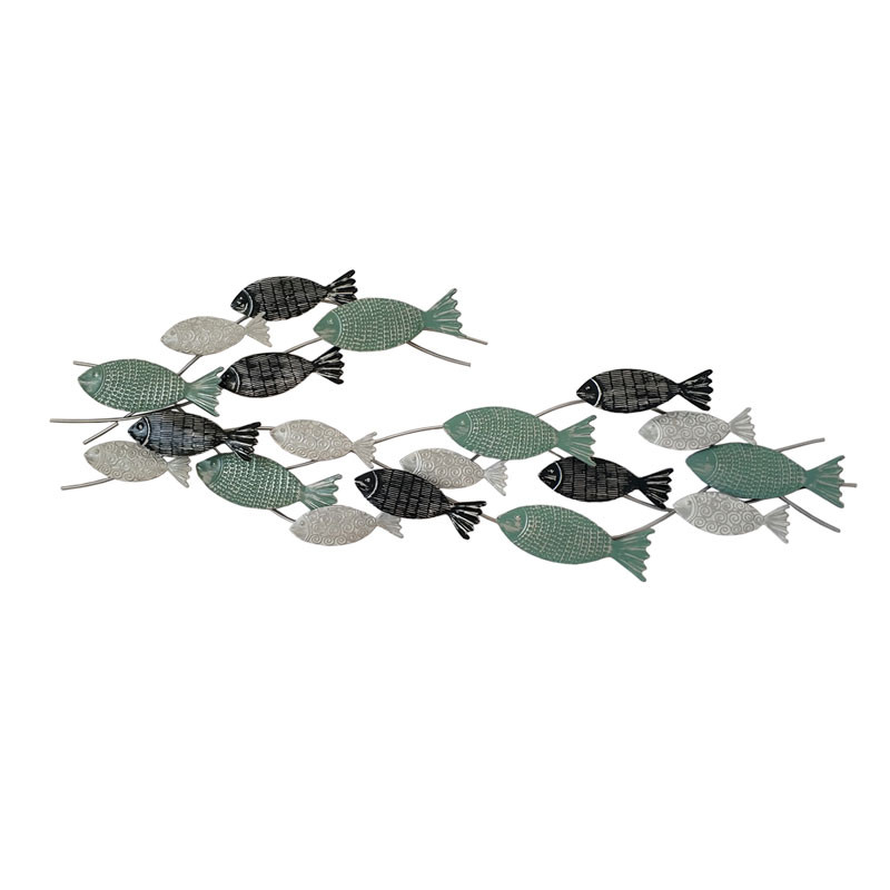 """Déco murale métal thème mer """"Banc de poissons"""""""