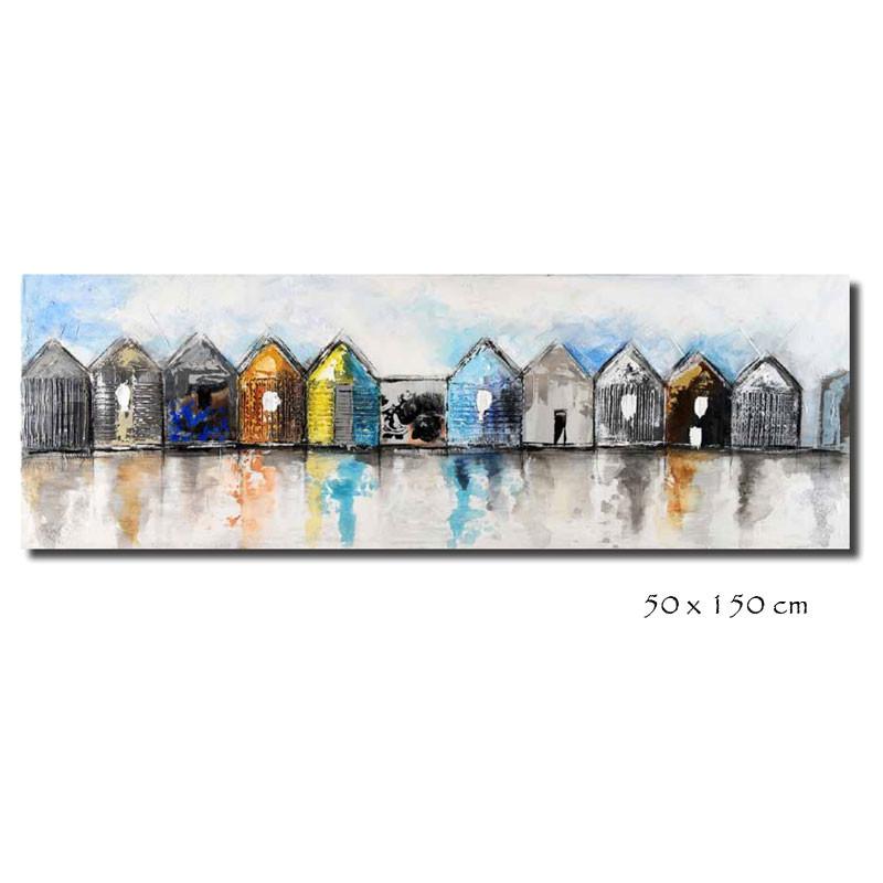 """ Cabines de plage "", tableau contemporain marin"