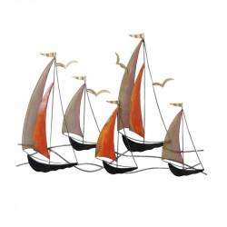 """""""Voiliers orange et alu"""",décoration murale métal marine"""