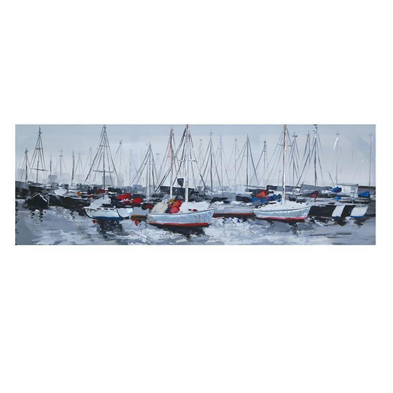 """"""" Voiliers au port """", Tableau contemporain marin, 50x150cm"""
