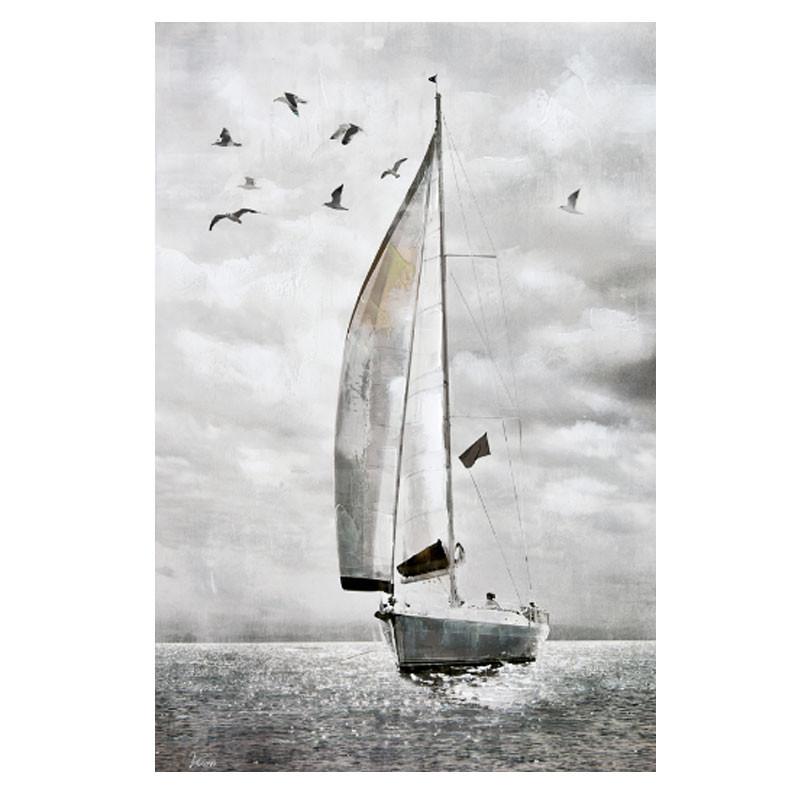 """' Voilier et mouettes """", tableau contemporain marin, 80x120 cm"""