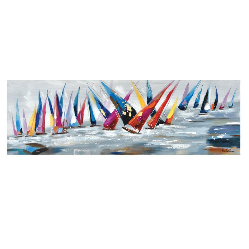 """Régate multicolore "", tableau contemporain marin, 40x120 cm"