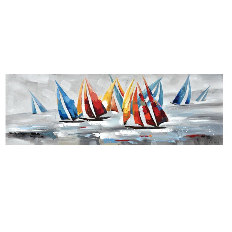""""""" Régate en mer multicolore """", tableau contemporain marin, 50x150 cm"""