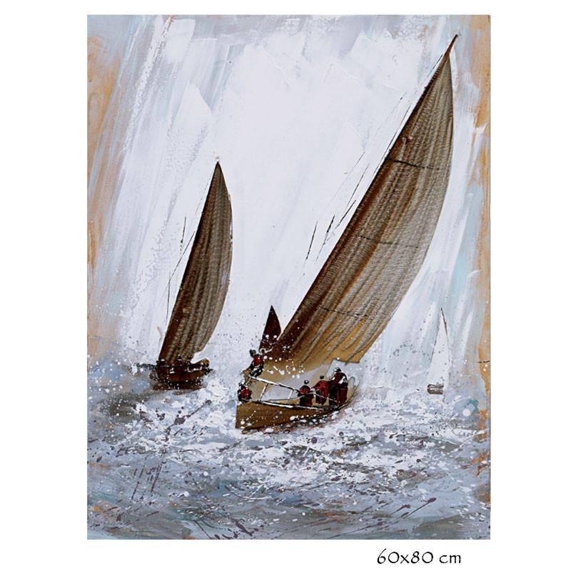 """"""" Régate voiles métal """", tableau contemporain marin, 60x80"""